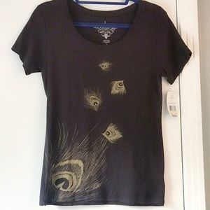 Tommy Hilfiger Brown Metallic Feather T-shirt Med